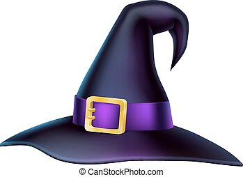 Cartoon Halloween Witch Hat - An illustration of a cartoon...