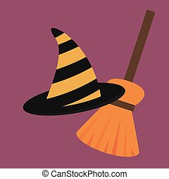 Cartoon halloween witch hat antasy scary witchcraft traditional costume magic object vector illustration