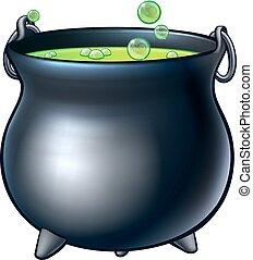 Cartoon Halloween Witch Magic Cauldron
