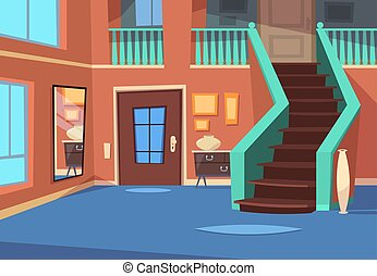 Cartoon hallway. House entrance interior with stairs and mirror. Cartoon indoor vector background