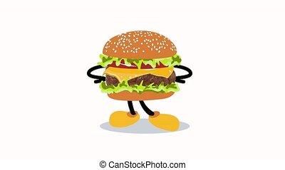 Cartoon hamburger 2d animation. Looped character animation. Perfect for sign, menus, restaurants, cafes.