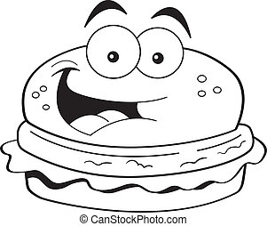 Cartoon hamburger - Black and white illustration of a...