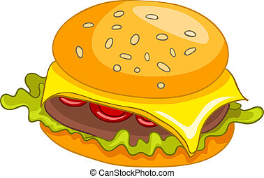 Cartoon Hamburger - Cartoon Food Hamburger Isolated on White...