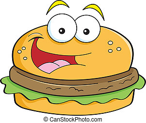 Cartoon hamburger - Cartoon illustration of a smiling ...