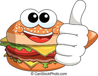 Cartoon hamburger character thumb up isolated