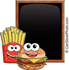 Cartoon Hamburger french fries characters blank blackboard chalkboard isolated