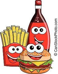 Cartoon Hamburger french fries coke bottle characters isolated