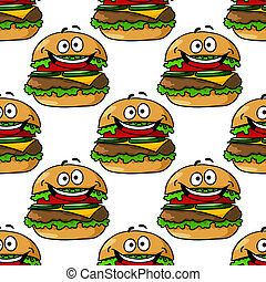 Cartoon hamburger seamless pattern