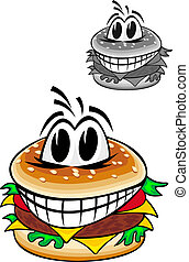 Smiling cartoon hamburger isolated on white background for fas food design