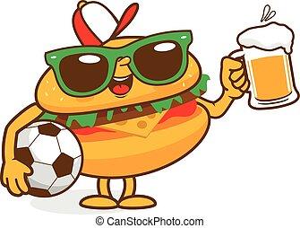 Cartoon hamburger with soccer ball and beer