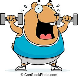 Cartoon Hamster Dumbbells