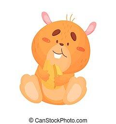 Cartoon hamster eats grain. Vector illustration on white background.