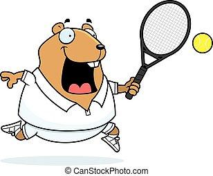 Cartoon Hamster Tennis - A cartoon illustration of a hamster...