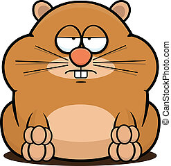 Cartoon illustration of a cute hamster with a tired expression.