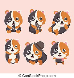 Cartoon hamster vector set.
