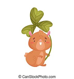 Cartoon hamster with clover. Vector illustration on white background.