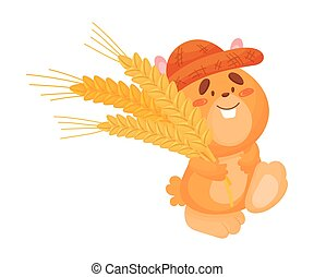 Cartoon hamster with ears of wheat. Vector illustration on white background.