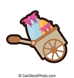 cartoon hand cart with easter eggs vector illustration eps...