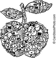 cartoon-hand, doodle, appel, getrokken