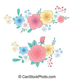 Cartoon hand drawing flower bouquets set. Vector illustration