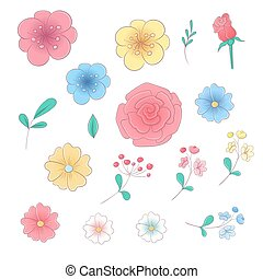 Cartoon hand drawing set of flowers and leaves. Vector illustration