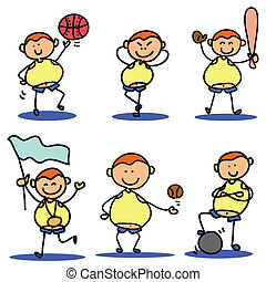 cartoon hand drawing sport icon