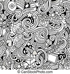 Cartoon hand-drawn doodles birthday theme seamless pattern