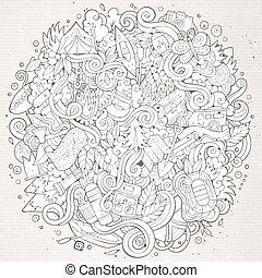 Cartoon hand-drawn doodles camp illustration - Cartoon...