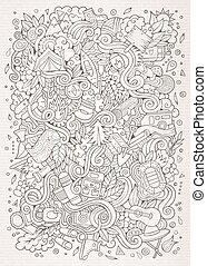 Cartoon hand-drawn doodles camp illustration