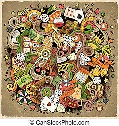 Cartoon hand-drawn doodles casino, gambling illustration