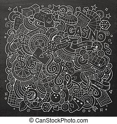 Cartoon hand-drawn doodles casino, gambling illustration