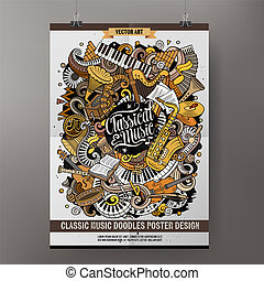 Cartoon hand drawn doodles Classic music poster design