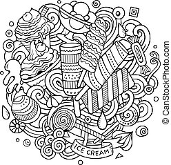 Cartoon hand-drawn doodles Ice Cream illustration. Line art...