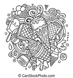 Cartoon hand-drawn doodles Ice Cream illustration. Line art...