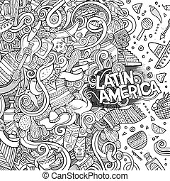Cartoon hand-drawn doodles Latin American frame