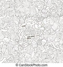 Cartoon hand-drawn doodles Latin American frame