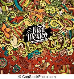 Cartoon hand-drawn doodles Latin American frame - Cartoon...