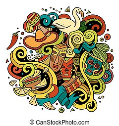 Cartoon hand-drawn doodles Latin American illustration