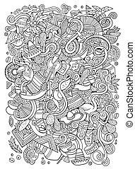 Cartoon hand-drawn doodles Latin American illustration. Line...