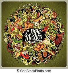 Cartoon hand-drawn doodles Latin American illustration....