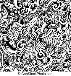 Cartoon hand-drawn doodles Mexican cuisine seamless pattern