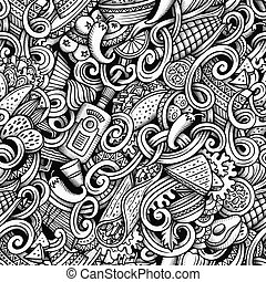 Cartoon hand-drawn doodles Mexican cuisine seamless pattern