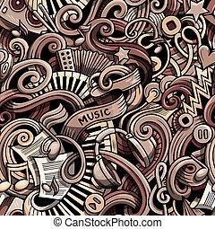 Cartoon hand drawn doodles Music seamless pattern - Cartoon...