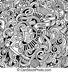 Cartoon hand-drawn doodles music seamless pattern - Cartoon...