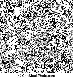 Cartoon hand-drawn doodles of italian cuisine seamless pattern