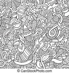 Cartoon hand-drawn doodles on the subject Latin American...
