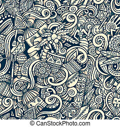 Cartoon hand-drawn doodles on the subject of Africa style theme seamless pattern. Raster background