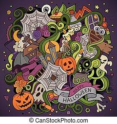 Cartoon hand-drawn Doodles on the subject of Halloween