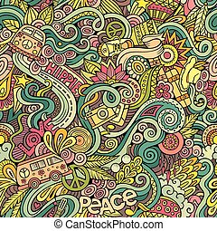 Cartoon hand-drawn Doodles on the subject of Hippie style...