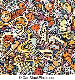 Cartoon hand-drawn doodles on the subject of sports style theme